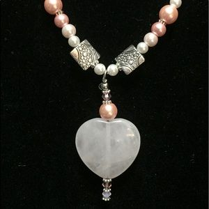 Agate Heart, Soft Pink Pearls, Silver Elements